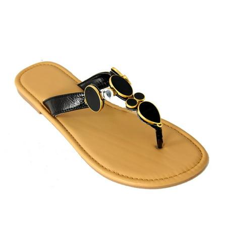 (Women's Stylish Black Gem and Rhinestone Flip-Flop Thong Shoes - Size 5-6)