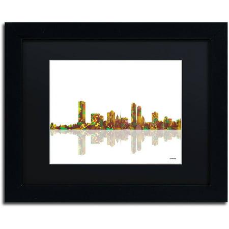 Trademark Fine Art   Milwaukee Wisconsin Skyline   Canvas Art By Marlene Watson Black Matte  Black Frame