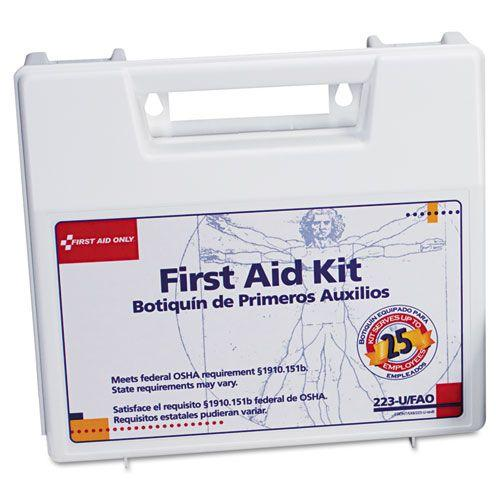 First Aid Only 25 Person Bulk First Aid Kit - 107 Pieces, 4 Oz. Eye Wash, First Aid Guide, OSHA Compliant, Wall Mountab