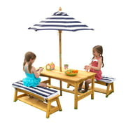 KidKraft Outdoor Wooden Table & Bench Set with Cushions and Umbrella, Navy and White Stripe Fabric