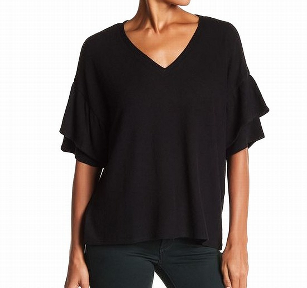 H By Bordeaux NEW Black Women's Size XL V-Neck Ruffle Tier Knit Top