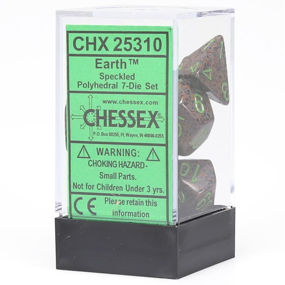 Polyhedral Dice Speckled Earth Green 7ct Easy Read High Quality Chessex Manufacturing CHX25310