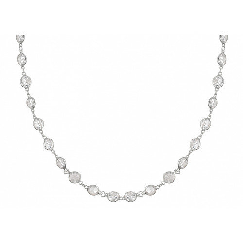 Plutus Partners Cubic Zirconia By The Yard Sterling Silver Necklace