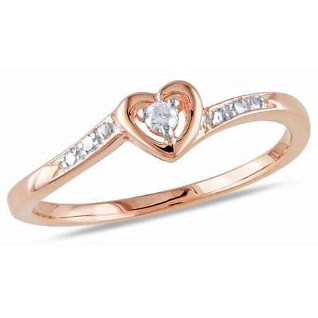 Diamond Accent Pink Rhodium Plated Sterling Silver Heart-Shaped Promise -
