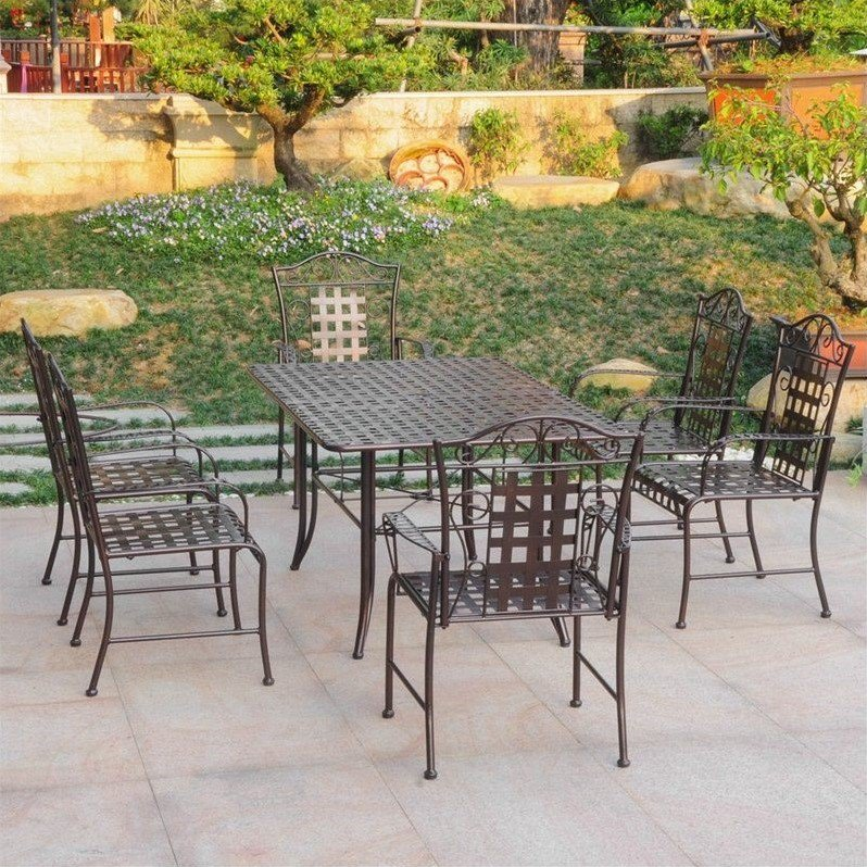 International Caravan Mandalay 7 Piece Patio Dining Set in Verdi Gris