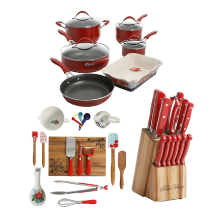The Pioneer Woman 44-Piece Cookware, Knife, and Gadget Set Value Bundle