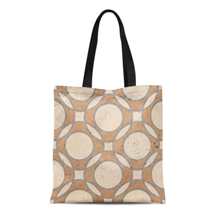 ASHLEIGH Canvas Tote Bag Clay Floor Tiles Porcelain Ceramic Geometric Pattern for Reusable Shoulder Grocery Shopping Bags