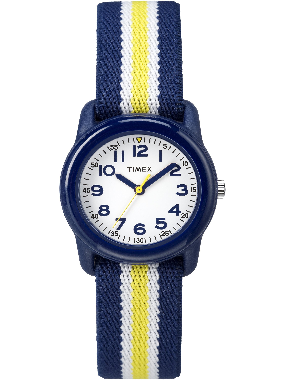Boys Time Machines Navy/Yellow Stripe Watch, Elastic Fabric Strap
