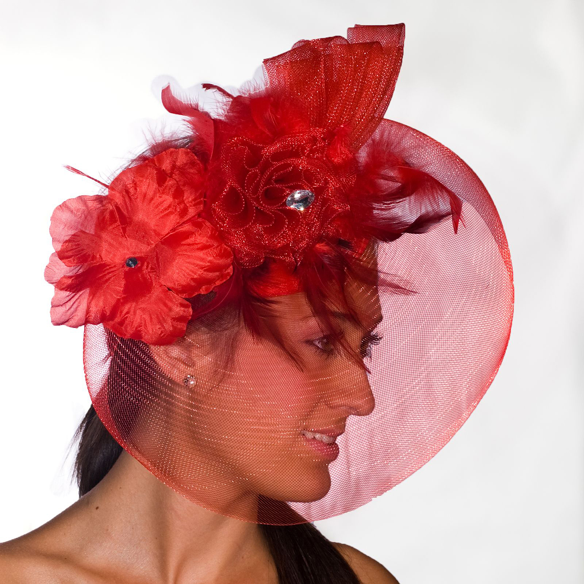 Sunnywood Red Derby Hat with Flowers Adult Costume Accessory