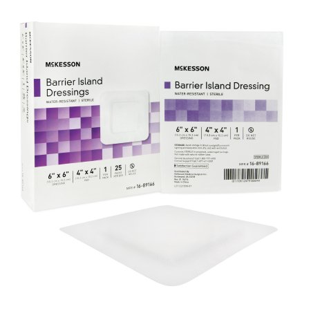McKesson Composite Barrier Island Dressing Water Resistant, 6 X 6 Inch, Polypropylene / Rayon, Sterile, 1 Count