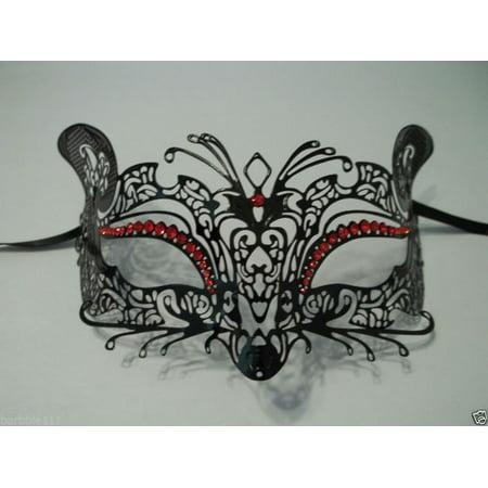 Black Red Fox Cat Rhinestone Laser Cut Venetian Mask Masquerade Metal Filigree