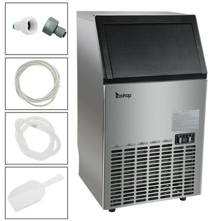Zimtown Commercial Ice Maker Automatic Built-In Stainless Steel Under counter/Freestanding/Portable Ice Machine for Restaurant Bar, 33lbs Storage Capacity, 100lbs/24h, 5 Accessories