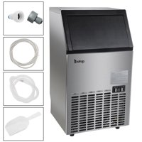Zimtown Commercial Ice Maker Automatic Built-In Stainless Steel Under counter/Freestanding/Portable Ice Machine for Restaurant Bar, 33lbs Storage Capacity, 100lbs/24h, 5 Accessories (Black)