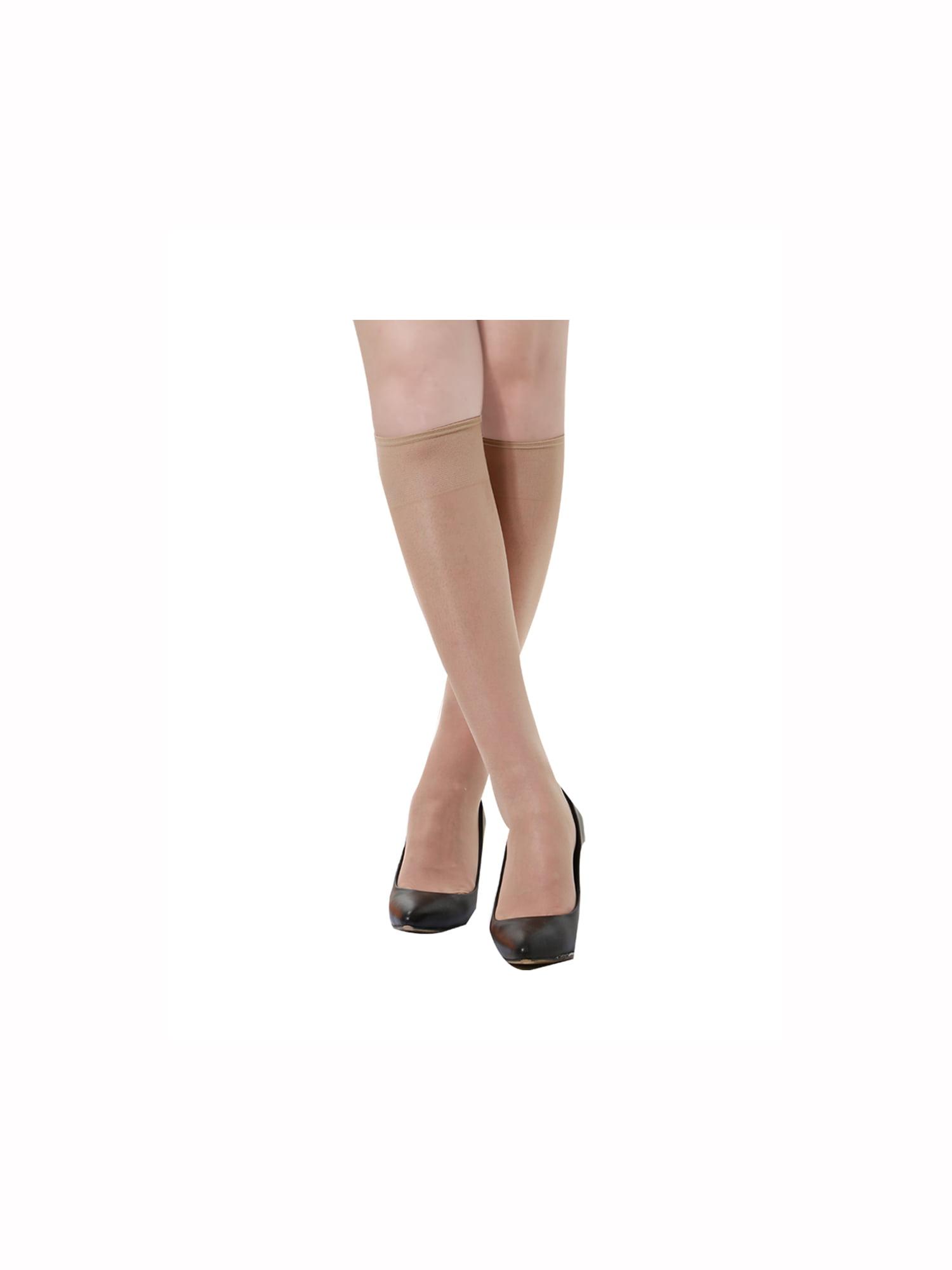 Unique Bargains Women's Knee High Silky Reinforced Toe Sheer Socks Stockings 10 Pack