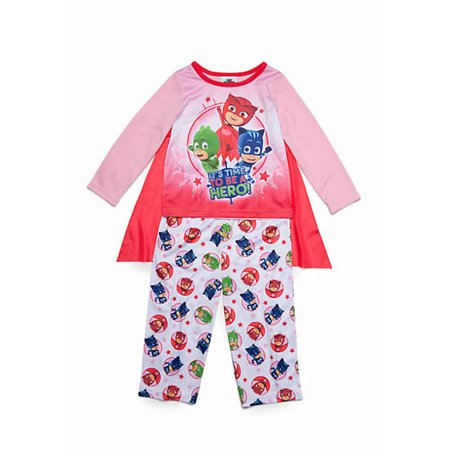 517a1856a102c Disney Junior - PJ MASKS GIRLS 4-8 3PC PAJAMA SET W/ CAPE Pink/Red -  Walmart.com