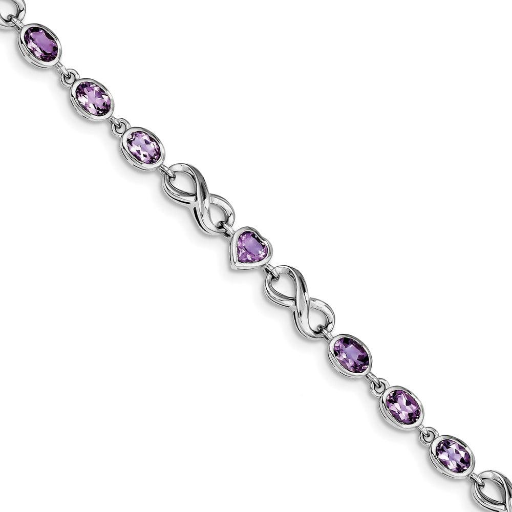 Sterling Silver Oval Heart Amethyst Bracelet 4.86 cwt by Jewelryweb