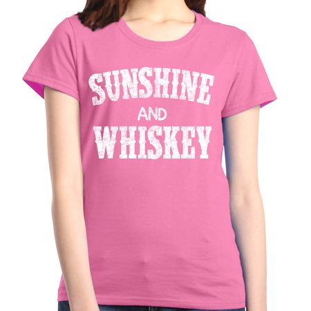 Shop4Ever Women's Sunshine and Whiskey Drinking Graphic (Powers Irish Whiskey)