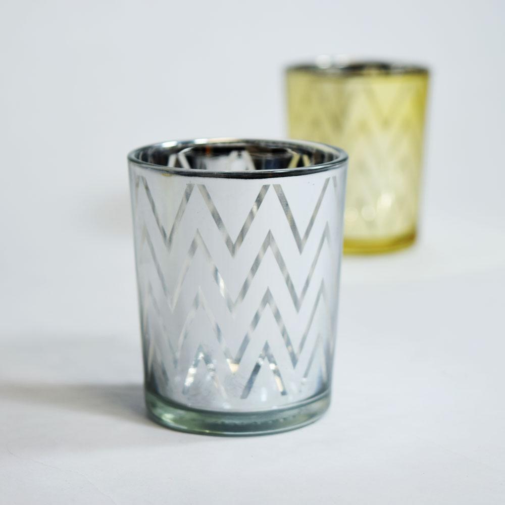 Fantado Chevron Votive Tea Light Glass Candle Holder - Silver (2.5 Inches) (6 Pack)