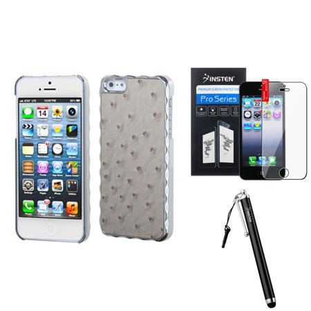 Insten Gray Silver Plating Ostrich Leather Alloy Case For iPhone 5S 5 + Stylus + LCD Guard Charger Leather Case Lcd