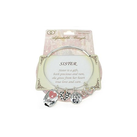 Beautiful Sisters Inspiration with Themed Charms Silver Tone Adjustable Bangle (Dress Silver Tone Bangle)
