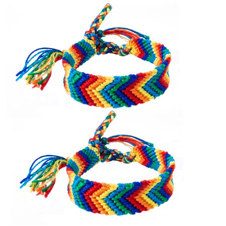 Set of 2 Handmade Gay Pride Friendship Bracelets for Men and Women - Adjustable Rainbow String Friendship Bracelet Set for LGBT Pride Awareness- Handwoven LGBT Gay and Lesbian Couples Bracelets