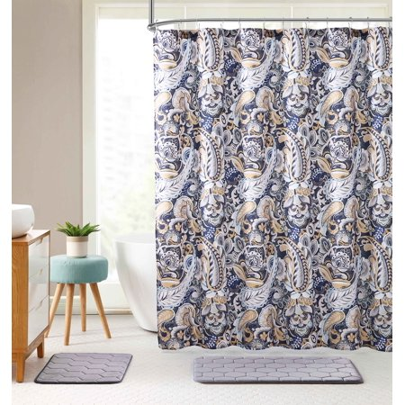Creative Paisley Shower Curtain (Elegant Navy Blue Beige Fabric Shower Curtain: Large Floral Paisley Print Design, 72