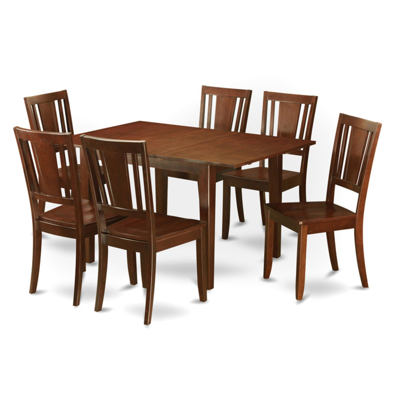 East West Furniture Milan 7 Piece Rectangular Dining Table Set with Dudley Chairs