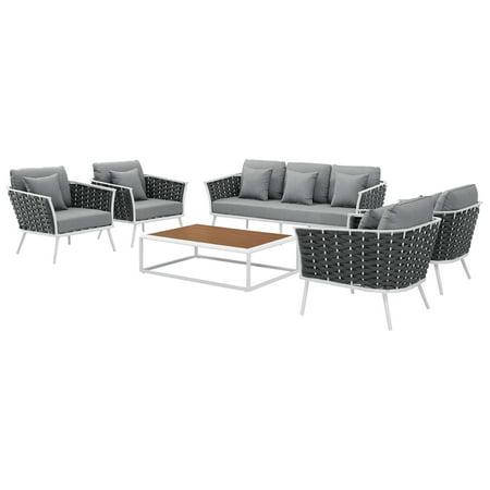 Contemporary Modern Urban Designer Outdoor Patio Balcony Garden Furniture Lounge Sofa, Chair and Coffee Table Set, Aluminum Fabric, White Grey Gray