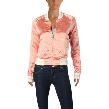 33165bbc9344 Elizabeth and James - Elizabeth and James Womens Willa Reversible Silk Bomber  Jacket Pink XS - Walmart.com