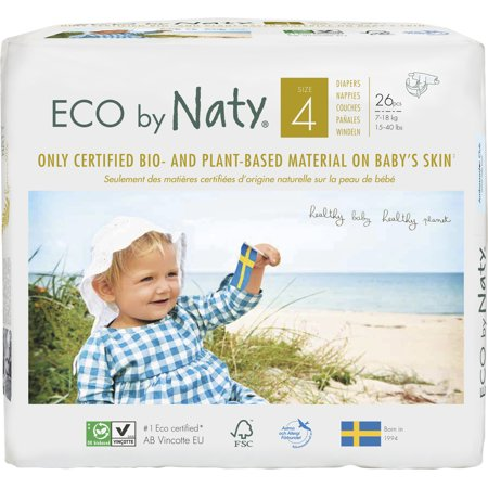 Eco by Naty Premium Disposable Diapers for Sensitive Skin, Size 4, 6 packs of 26 (156 Diapers) (Chlorine and perfume free)