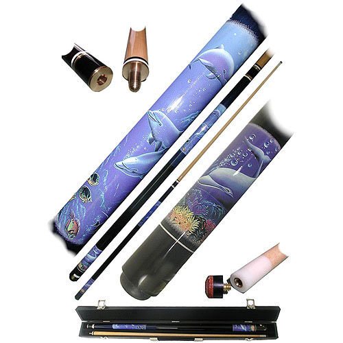 Dolphin 2-Piece Pool Cue Stick with Case