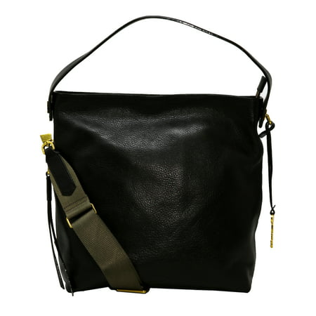 Black Leather Shoulder Bag Purse (Fossil Maya Leather Hobo Bag -)