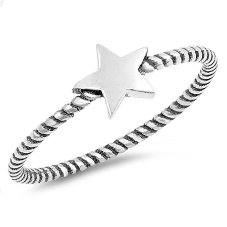 Star Rope Stackable Thumb Cute Ring New .925 Sterling Silver Band Size (Slim Rope Style Stackable Ring)