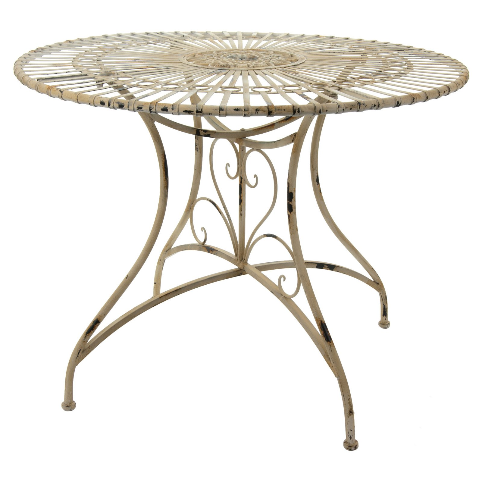 Oriental Furniture Rustic Wrought Iron Round Patio Dining Table
