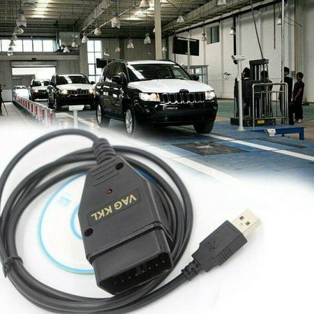 AkoaDa Auto Diagnostic Tool USB Cable KKL VAG-COM 409.1 OBD2 Diagnostic Scanner+VCDs# ()