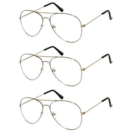 Aviator Clear Lens Silver Metal Sunglasses Men's Women's Non-Prescription OWL (3 (Prescription Aviator Sunglasses)