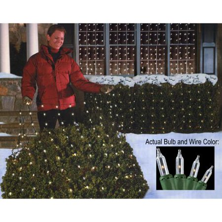 4' x 6' Clear Mini Net Style Christmas Lights - Green Wire