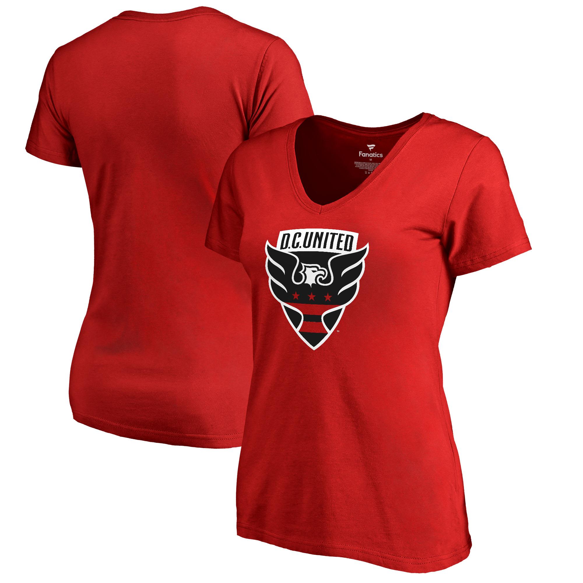 D.C. United Fanatics Branded Women's Primary Logo V-Neck T-Shirt - Red