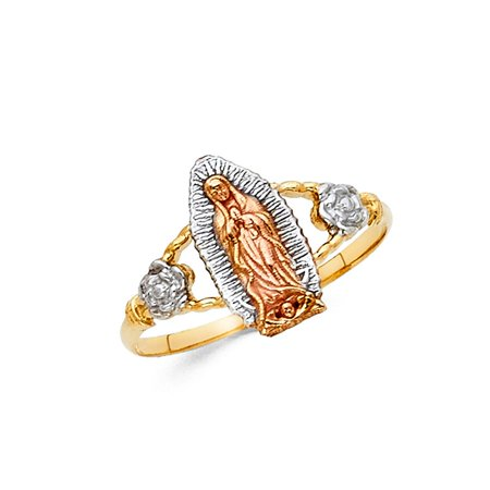 14k Multi Colored Tri Tone Italian Gold 13mm Rose Floral Flower De Virgen Guadalupe Religious Ring Size 9 Available All - Designer Multi Colored Ring