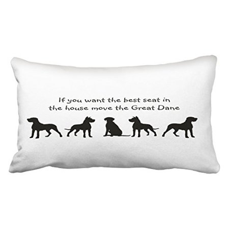 WinHome Black And White Great Dane Humor Best Seat In House Dog Silhouette Polyester 20 x 30 Inch Rectangle Throw Pillow Covers With Hidden Zipper Home Sofa Cushion Decorative