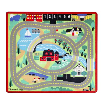 - Melissa & Doug Round the Town Road Rug and Car Activity Play Set With 4 Wooden Cars (39 x 36 inches)