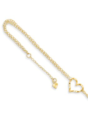 14k Yellow Gold Double Strand Heart 9 10 Adjustable Chain Plus Size Extender Anklet Ankle Beach Bracelet