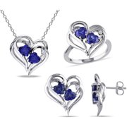 4-3/5 Carat T.G.W. Created Blue Sapphire with Diamond-Accent Sterling Silver Heart Design Pendant, Ring and Earrings Set, 18
