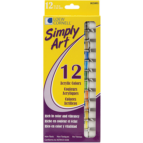 Simply Art Acrylic Paints 12ml, Assorted Colors, 12/pkg