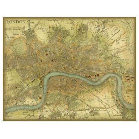 Great BIG Canvas | Rolled Vision Studio Poster Print entitled Map of London