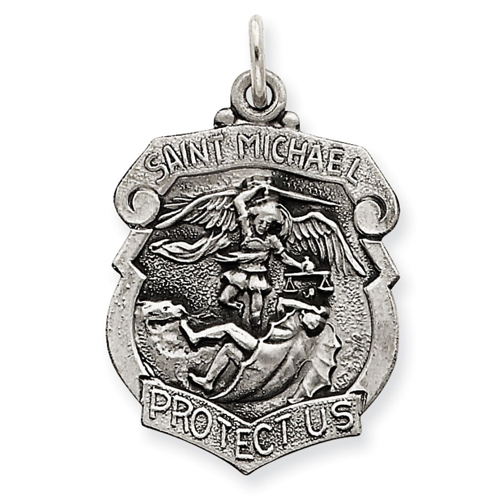 Sterling Silver St. Michael Badge Medal Charm