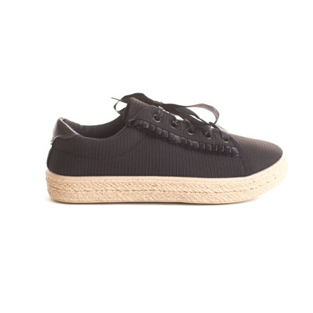 - Soho Shoes Women's Ribbon Lace Up Ruffle Drape Espadrille Platform Sneaker