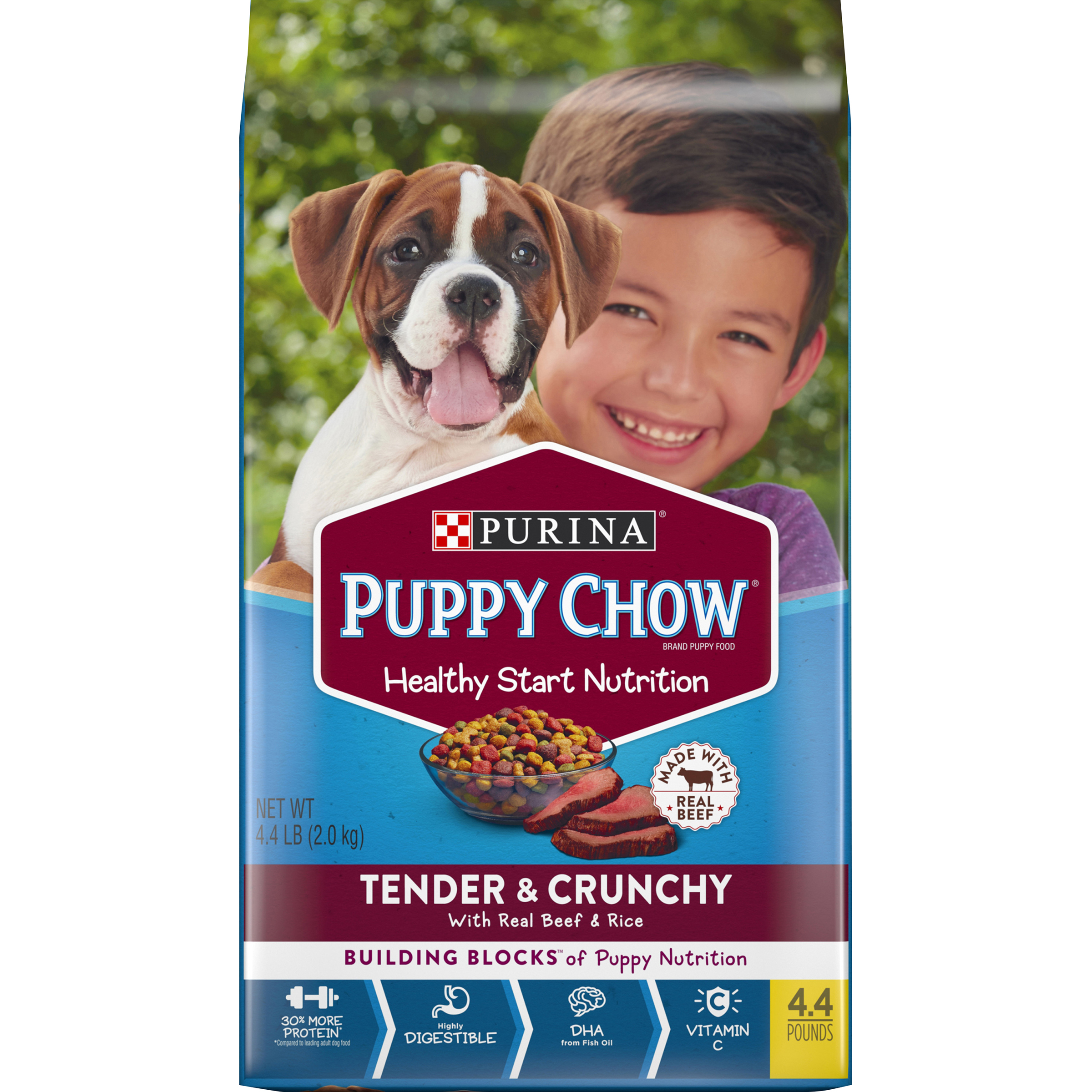 Purina Puppy Chow High Protein Dry Puppy Food; Tender & Crunchy with Real Beef - 4.4 lb. Bag
