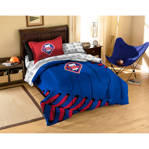 MLB Applique Bedding Comforter Set with Sheets, Phillies