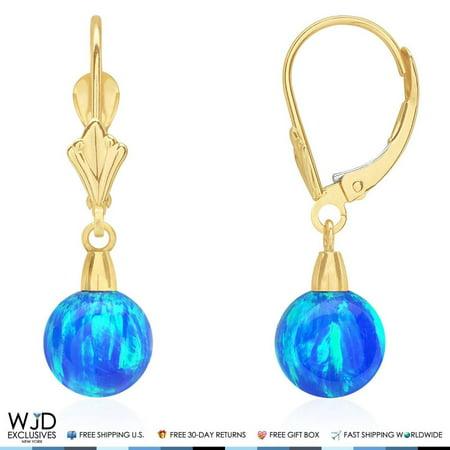 Fire Opal Dangle (7mm Ball Shaped Blue Fire Opal Leverback Dangle Earrings 14K Yellow Gold )